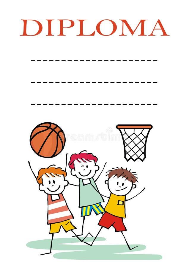 Sports diplôme, équipe de garçons du basket-ball, ENV illustration de vecteur