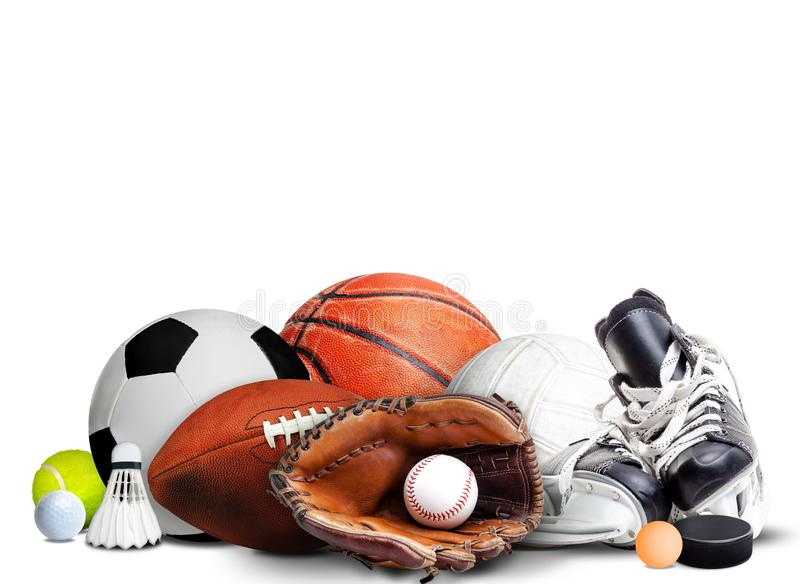 Sports Equipment For All Seasons  on White Background royalty free stock image