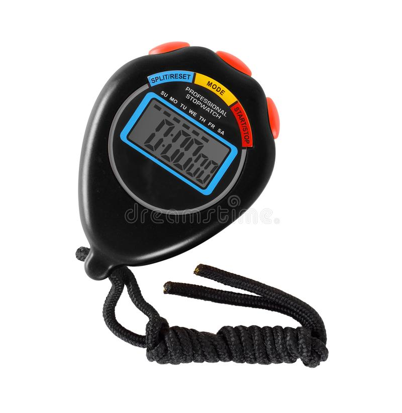 Sports equipment - Black Stopwatch red button. Isolated. Sports equipment - Black Digital electronic Stopwatch red button on a white background. Isolated royalty free stock image
