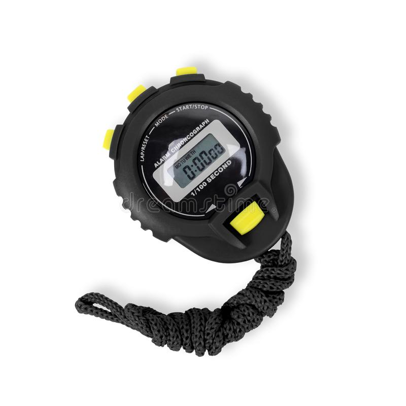 Sports equipment - Black yellow Stopwatch. Isolated. Sports equipment - Black yellow Digital electronic Stopwatch on a white background. Isolated stock image