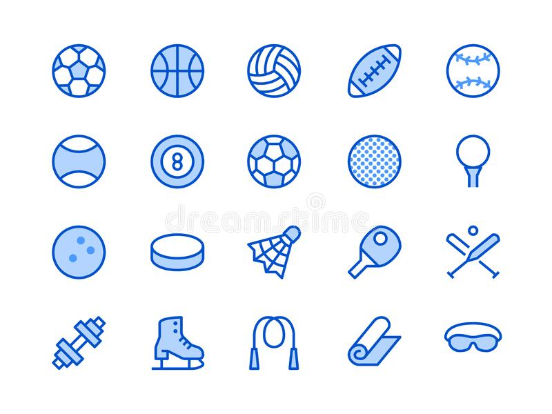 Sports Equipment Blue Line Icon. Vector Illustration Flat style. Included Icons as Sport Balls, Basketball, Handball stock illustration