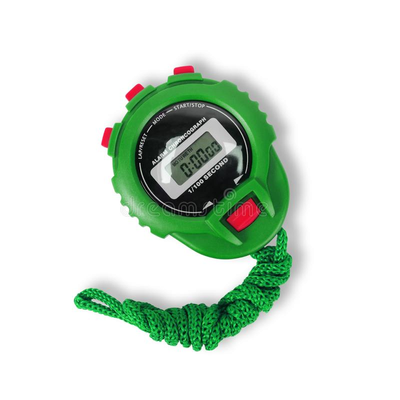 Sports equipment - Digital electronic Stopwatch on a white background. Isolated. Sports equipment - Green Digital electronic Stopwatch on a white background stock image