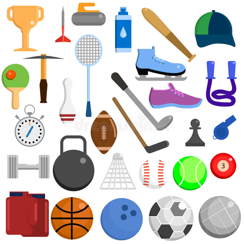 Sports equipment elements collection, flat icons set stock illustration