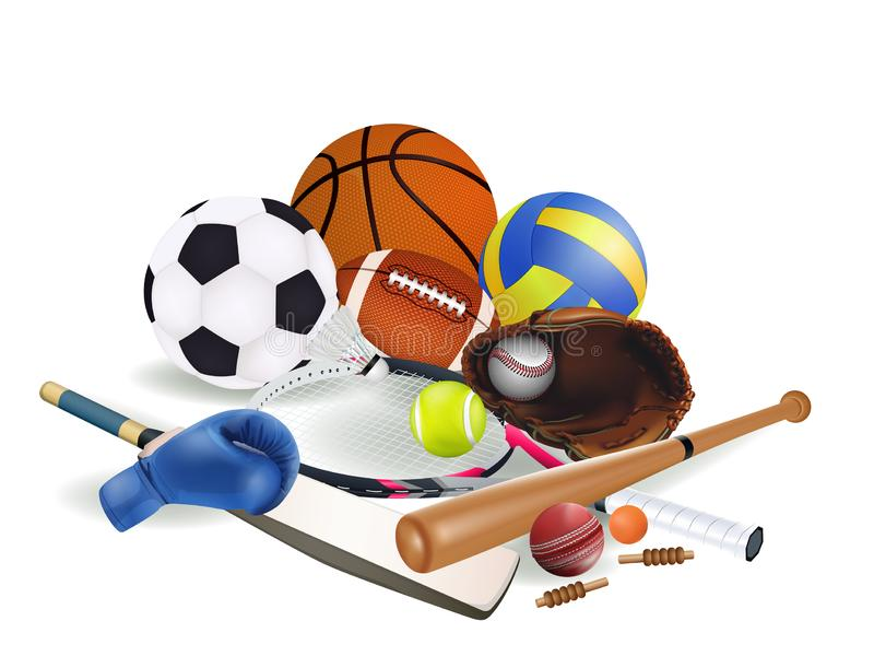 Sports equipment with a football basketball baseball soccer tennis ball volleyball boxing gloves cricket and badminton isolated on. White background. vector and royalty free illustration