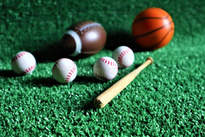 Sports equipment on Green background stock photos