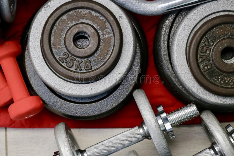 Sports equipment for home training stock images