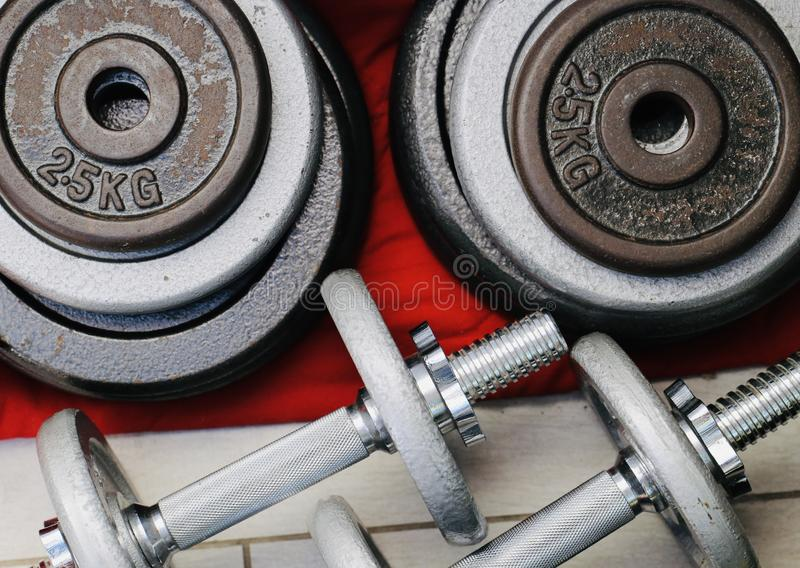 Sports equipment for home training royalty free stock image