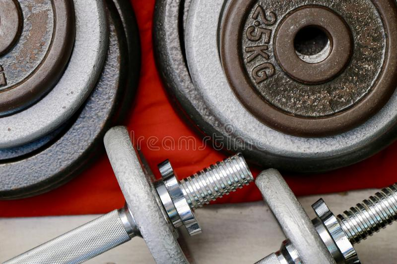 Sports equipment for home training stock image