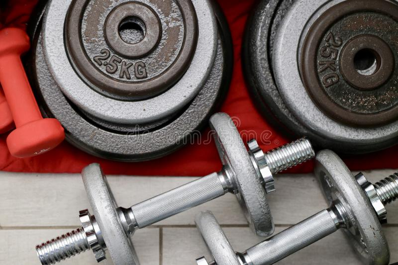 Sports equipment for home training stock photo