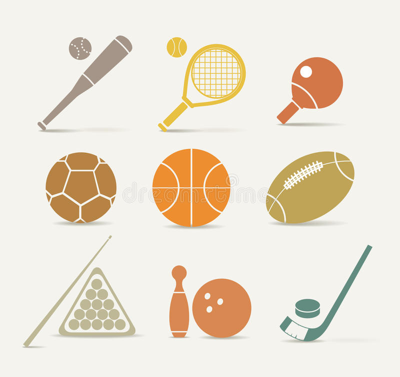 Sports equipment icons stock image