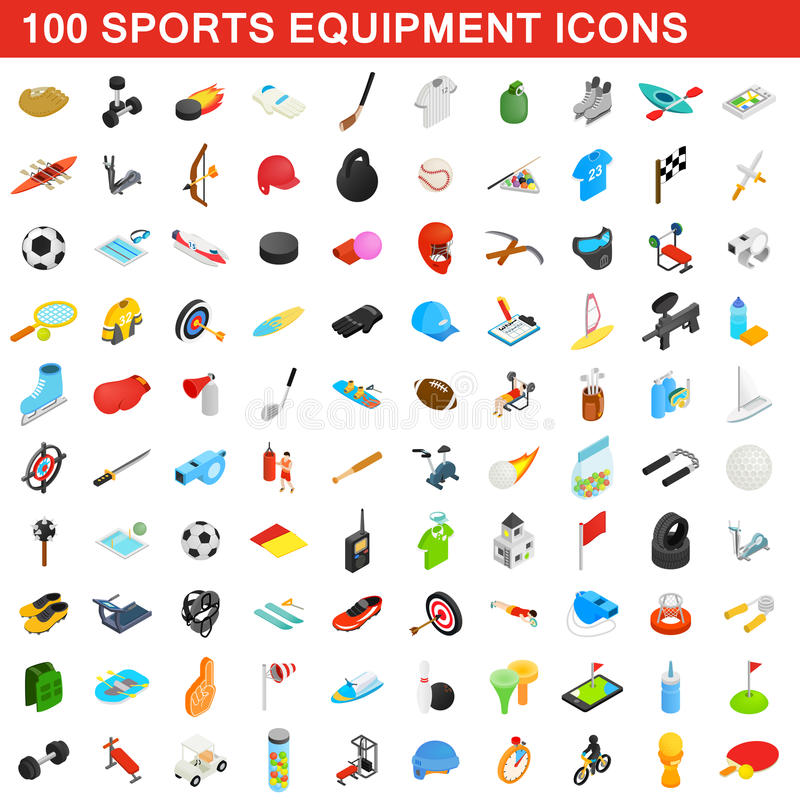 100 sports equipment icons set, isometric 3d style vector illustration