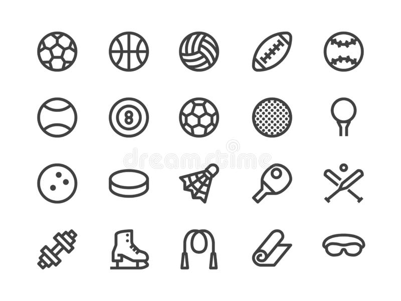 Sports Equipment Line Icon. Vector Illustration Flat style. Included Icons as Sport Balls, Basketball, Handball royalty free illustration