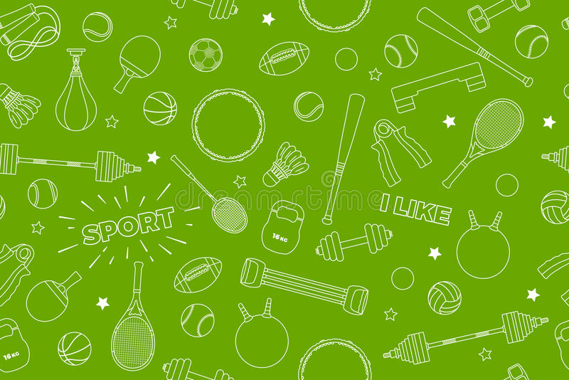 Sports Equipment pattern. Set of colorful sport balls and gaming items at a green background. Subject of fitness, sport royalty free stock photography