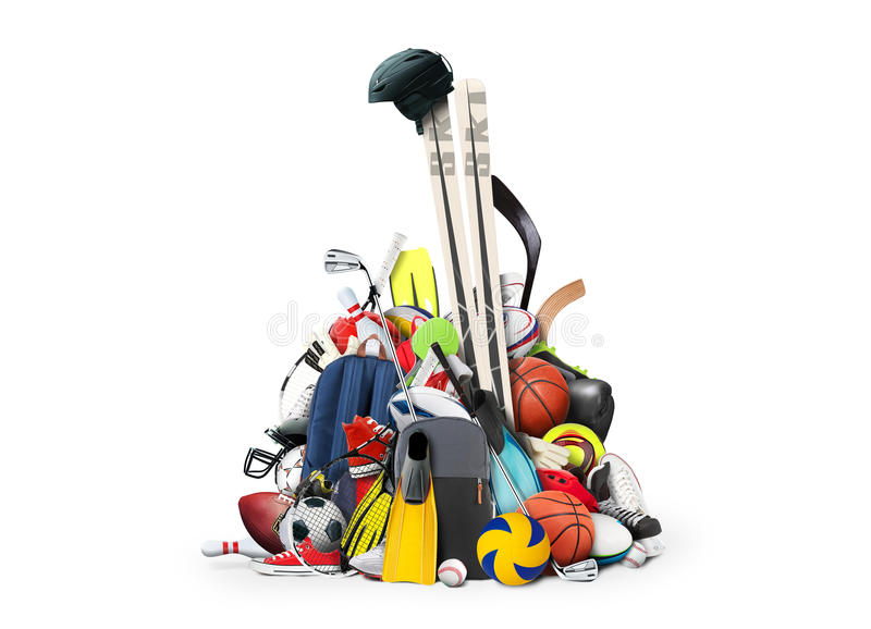 Sports. Equipment piled in a heap