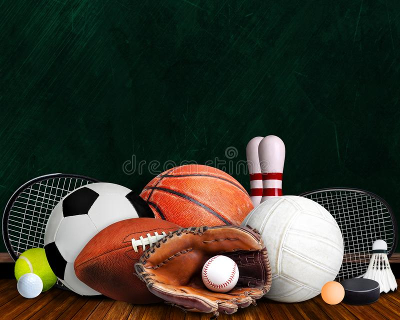 Sports Equipment, Rackets and Balls With Chalkboard and Copy Space. Sports equipment, rackets and balls on table with background chalkboard and copy space royalty free stock photography