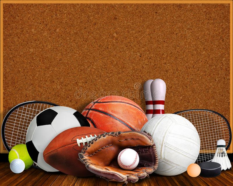 Sports Equipment, Rackets and Balls With Corkboard and Copy Space. Sports equipment, rackets and balls on table with background corkboard and copy space royalty free stock images