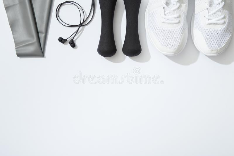 Sports equipment on white background stock photography