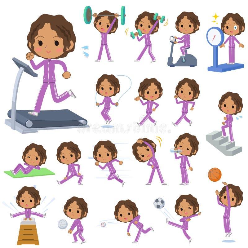 Sports et exercice pourpres de débardeur de fille noire d'école illustration stock