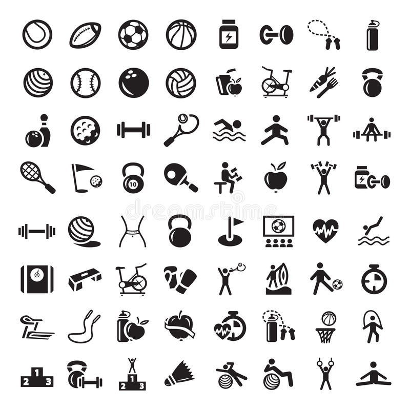 Sports et graphismes de fitnes réglés illustration libre de droits