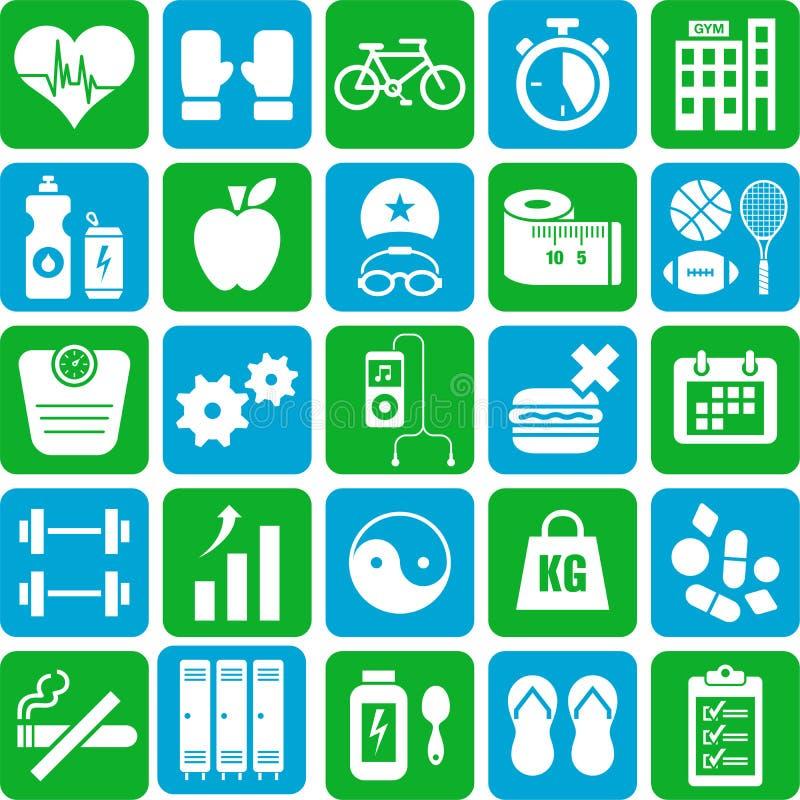 Sports et icônes de santé illustration de vecteur