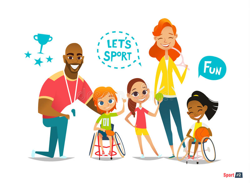 Sports family. Handicapped Kids in wheelchairs playing ball and have fun with their friend. Coaching stock illustration