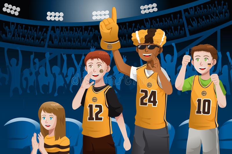 Sports fans in a stadium. A vector illustration of basketball fans cheering inside the stadium stock illustration