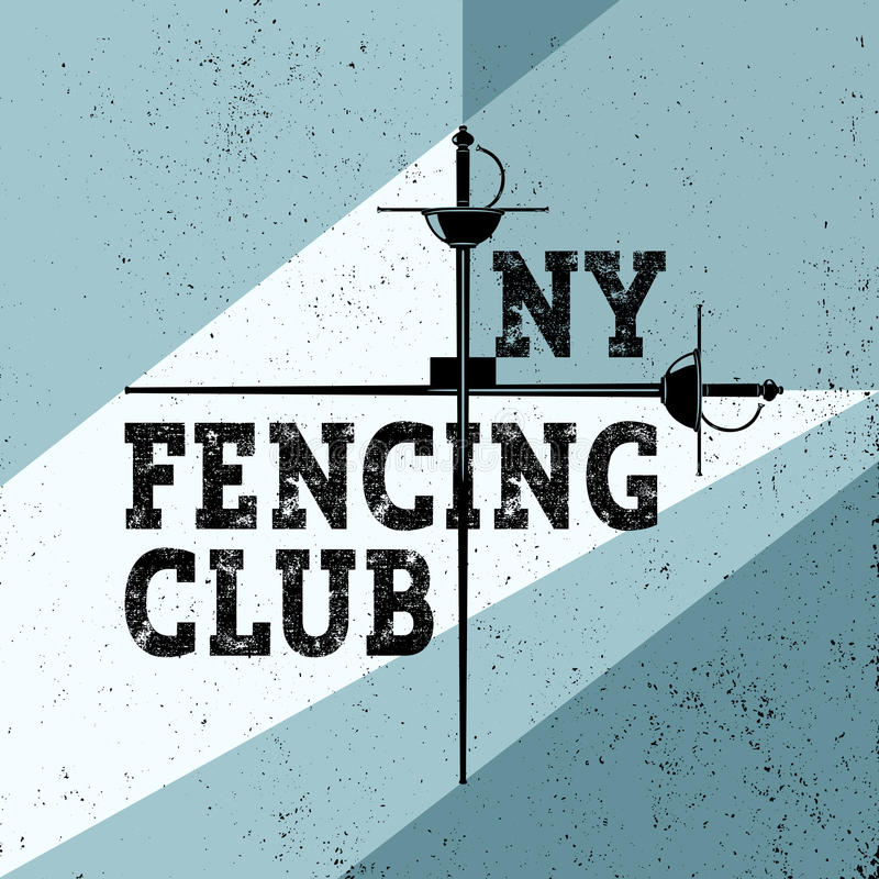 Sports fencing club poster illustration with foil. Sport vintage background. Fencer recreation flyer. Vector retro style. Sports fencing poster illustration vector illustration