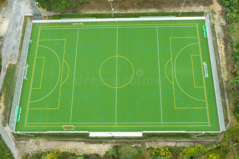A sports field from the air. A new sports field taken from the air stock images