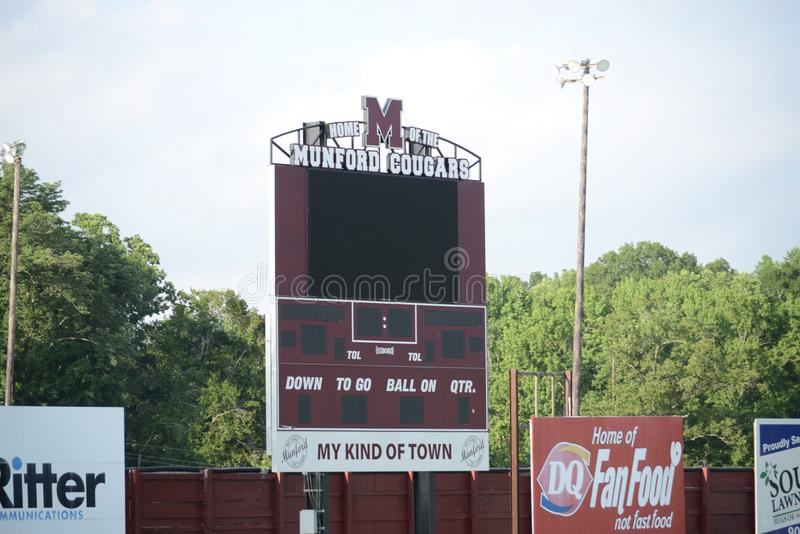 Sports Field Munford High School, Tennessee. Munford High School Sports Field and Stadium, Munford TN, home of the Cougars, the school`s location since 1983 is stock images
