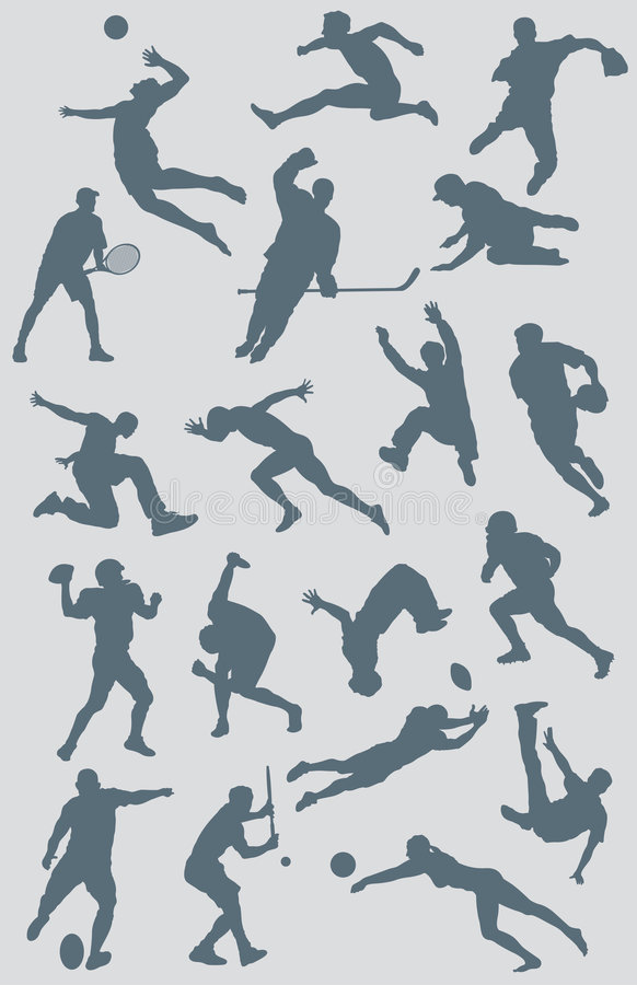 Sports Figure Vector Collection 2. A collection of vector sports figures created in Adobe Illustrator. The various sports represented in this illustration stock illustration