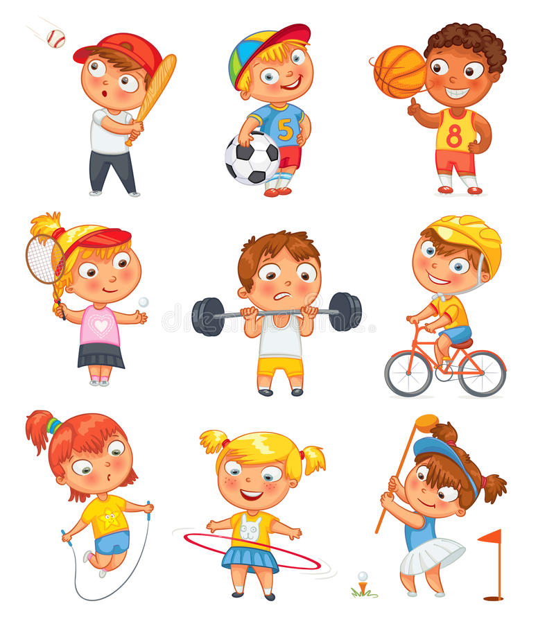Sports and fitness. Funny cartoon character vector illustration