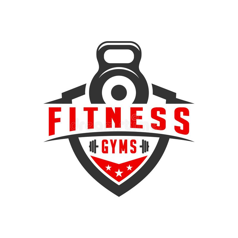 Sports fitness shield logo design stock illustration