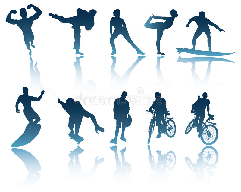 Download Sports & Fitness Silhouettes Stock Vector - Image: 6736709