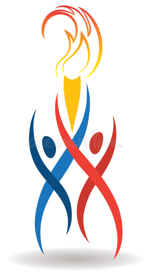 Sports Flame Logo. An olympic style sports logo with 2 athletes holding a flaming torch vector illustration