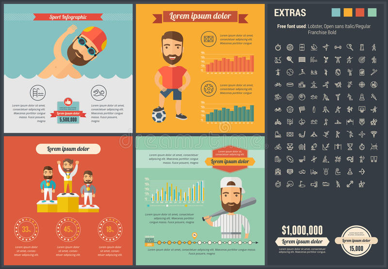 Sports flat design Infographic Template. Sports infographic template and elements. The template includes illustrations of hipster men and huge awesome set of royalty free illustration