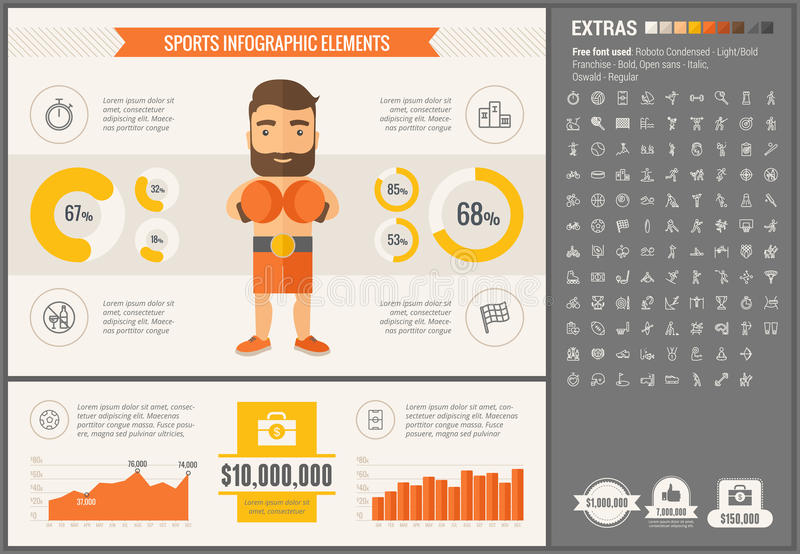 Sports flat design Infographic Template. Sports infographic template and elements. The template includes illustrations of hipster men and huge awesome set of vector illustration