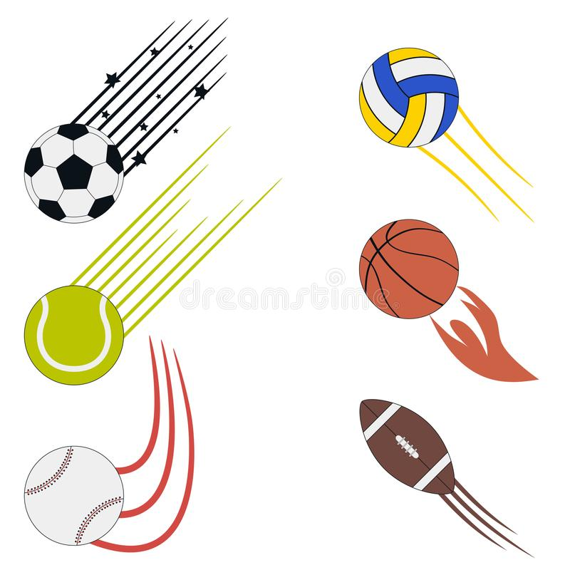 Sports flying balls set with speed motion trails. Graphic design for athletic logo with soccer, basketball, volleyball, baseball. vector illustration