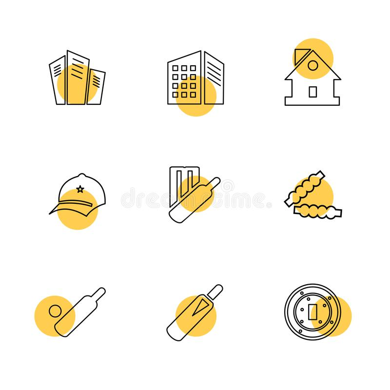 Sports , games , atheletes , eps icons set vector. Sports , games , atheletes , arrows , left , right , up , down , cricket , football , tennis , bails , ball royalty free illustration