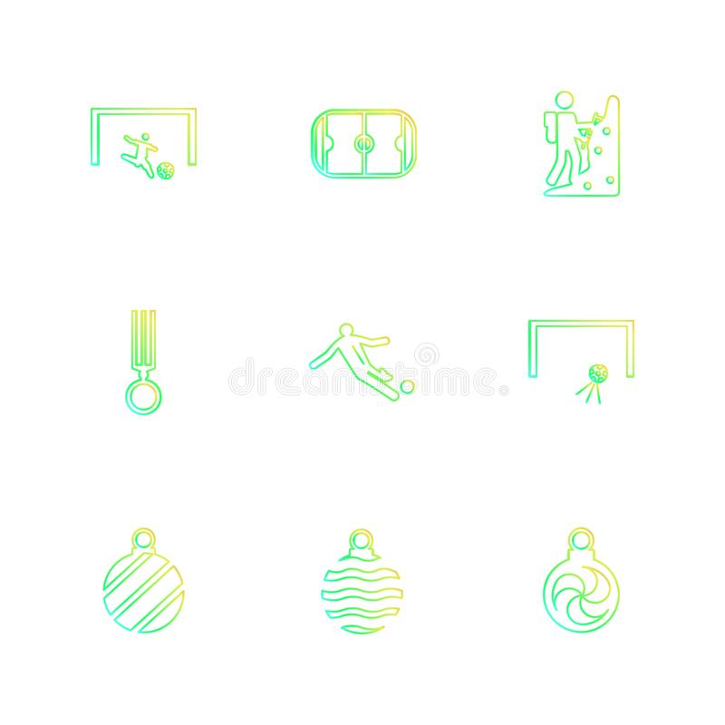 Sports , games , atheletes , balls , fitness , eps icons set vector. Sports , games , atheletes , balls , fitness , football , fifa , russia , cricket , ball stock illustration
