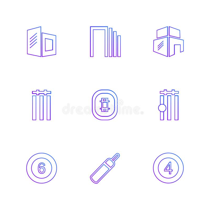 Sports , games , atheletes , eps icons set vector. Sports , games , atheletes , arrows , left , right , up , down , cricket , football , tennis , bails , ball stock illustration