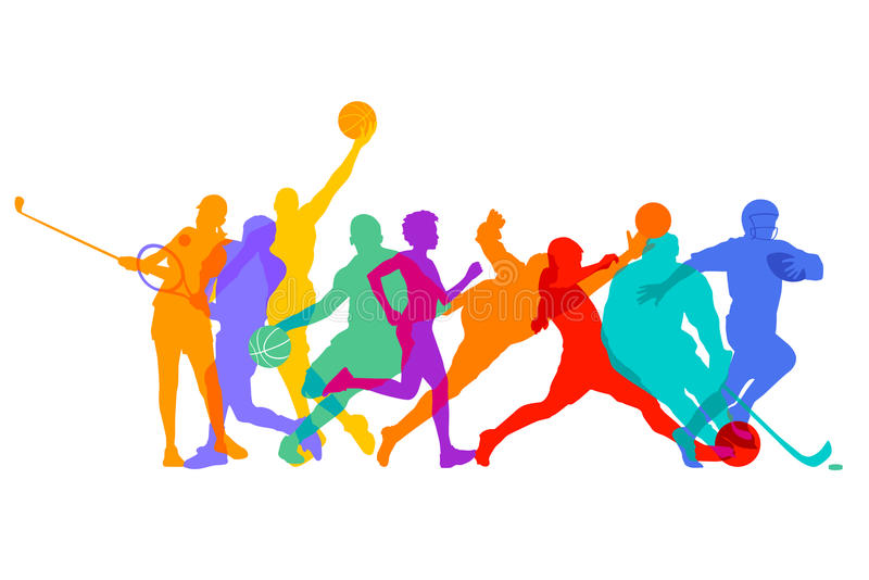 Sports, games and athletes. Colorful illustration of participants (athletes) in games and sports, white background