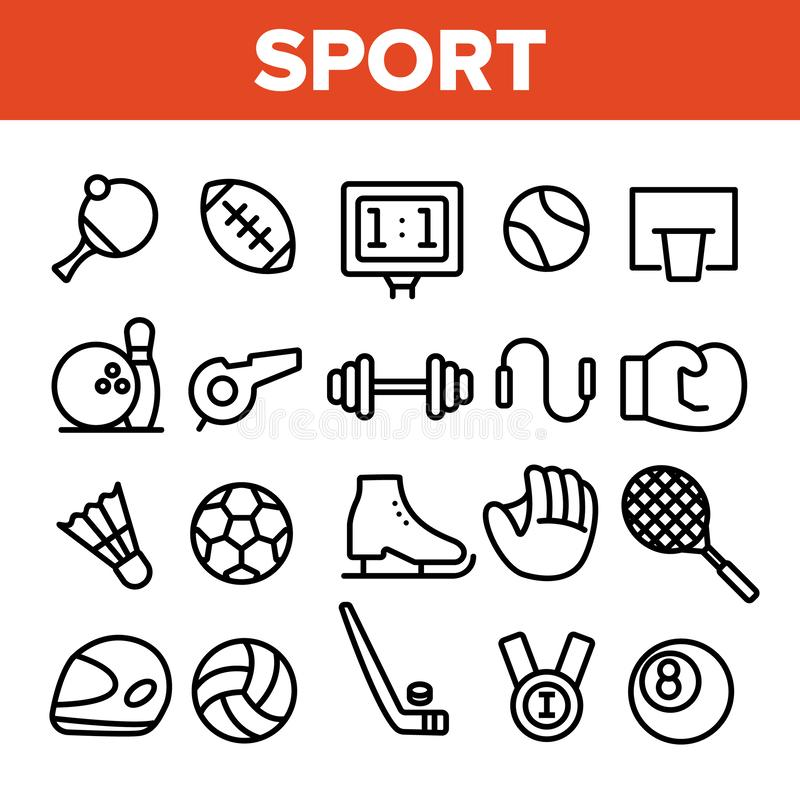 Sports Games Equipment Linear Vector Icons Set stock illustration