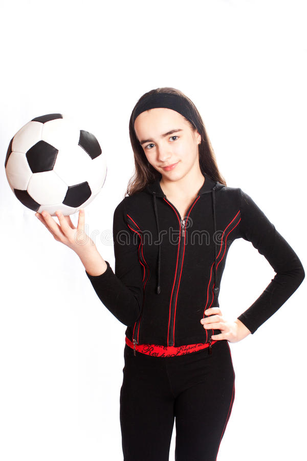 Download Sports Girl With A Football Stock Photo - Image of elegance, aerobics: 18311982