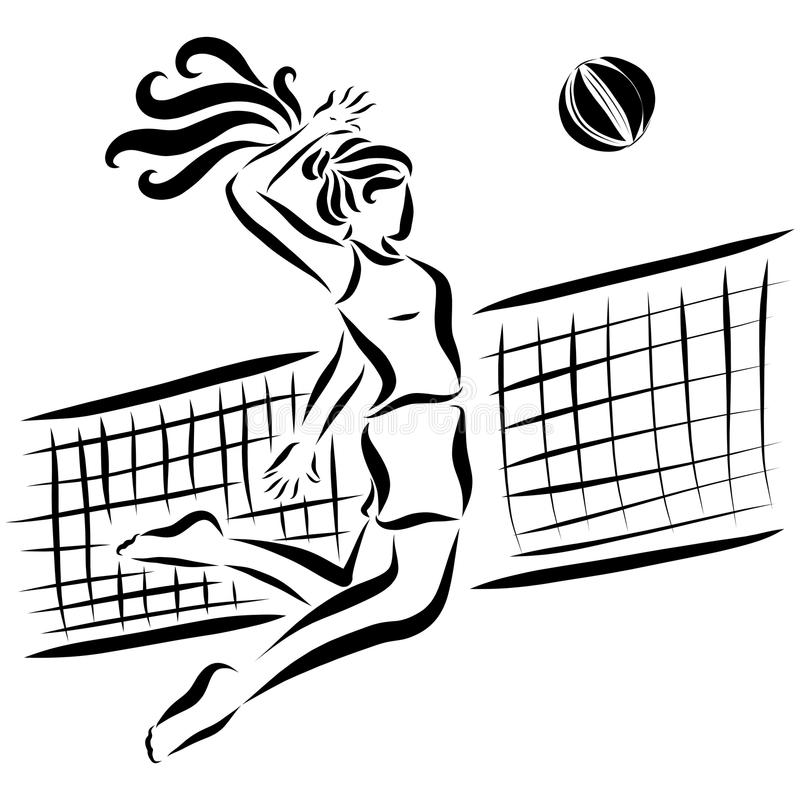 Sports girl throws the ball through a volleyball net royalty free illustration