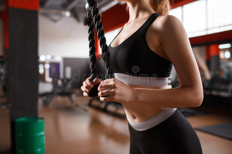 The girl is training the triceps on the block. A sports girl trains a triceps hands on a block in the gym. Indoos stock photo