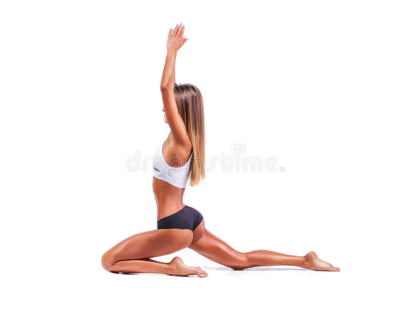 Sports girl on a white background. Only Sports girl on a white background stock photos