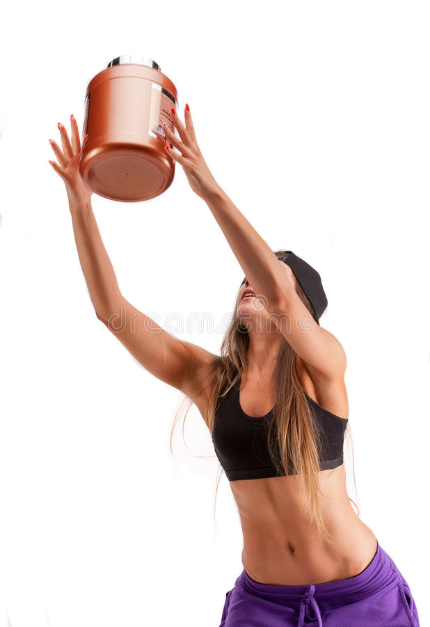 Free Sports Girl With Jar Of Protein Stock Images - 91265634