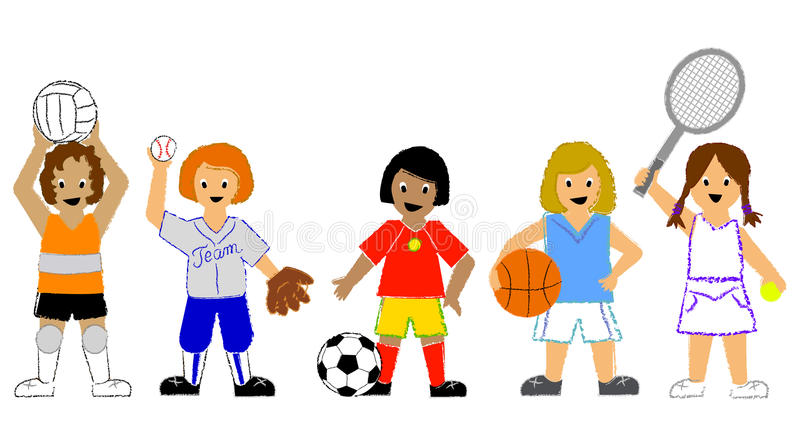 Sports Girls. Illustration of children playing volleyball softball soccer, basketball and tennis...sports boys file also in my portfolio