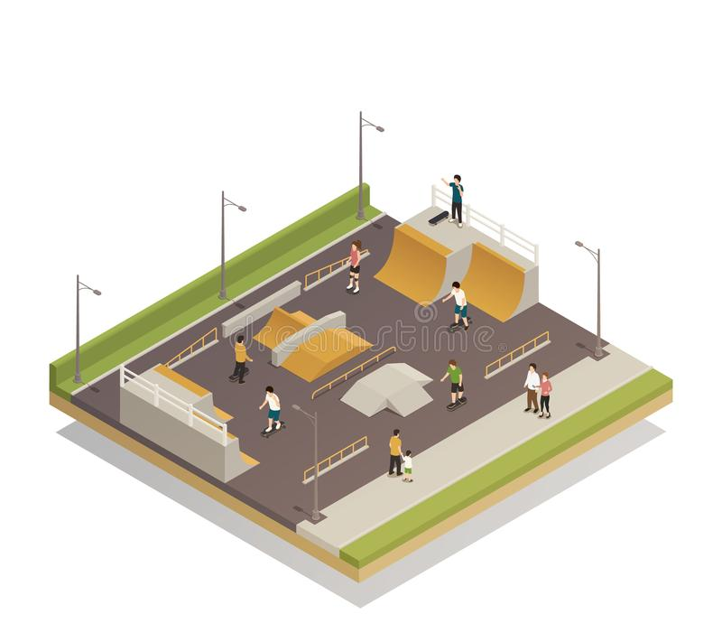Sports Ground For Eco Riding. Eco riding sports ground isometric composition with technical facilities for roller and skateboard training vector illustration vector illustration