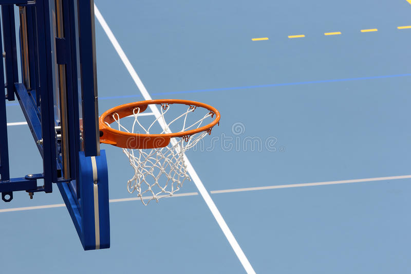 Sports hall basketball blue court.  royalty free stock photography